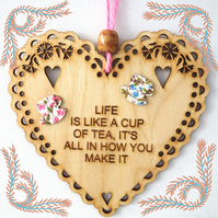 Cup Of Tea, 15cm Wooden Heart, Hanging Heart, Engraved Heart Decoration