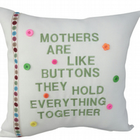 Mothers Buttons Cushion, Embroidered Cushion, Feature Cushion, Throw Pillow