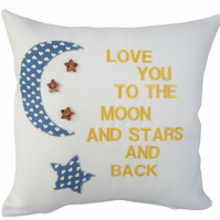 Moon and Stars Cushion, Embroidered Cushion, Feature Cushion, Throw Pillow