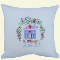 Home Sweet Home Cushion, Embroidered Cushion, Feature Cushion, Throw Pillow