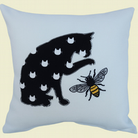 Cat & Bee Cushion, Embroidered Appliqué Cushion, Feature Cushion, Throw Pillow