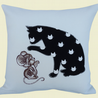 Cat and Mouse, Embroidered Appliqué Cushion, Feature Cushion, Throw Pillow