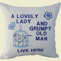 Grumpy Old Man Cushion, Embroidered Cushion, Feature Cushion, Throw Pillow