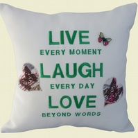 Live Laugh Love Cushion, Embroidered Cushion, Feature Cushion, Throw Pillow
