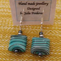 Square glass green and black striped earrings
