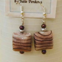 Square glass pink and black striped earrings.