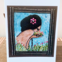 La Bouquet - Hand embroidered Card