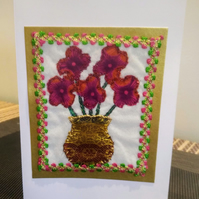 Blooms in a vase - Hand embroidered greeting card.