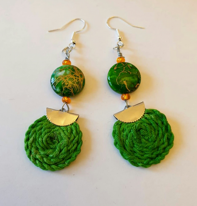 Bead and textile spiral earrings