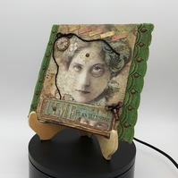 Mixed Media Canvas in Vintage or Eclectic Style with Wood Stand