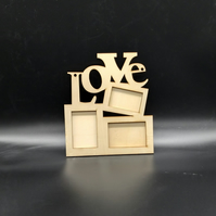 Wood Photo Frame to Decorate Pack of 2, Gift for Valentines Day, Craft Supply
