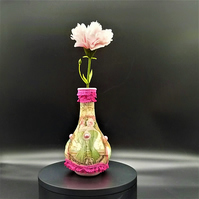 Glass Vase decorated with Rice Papers & Ribbon, Valentine Gift Idea