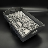 Display Tray with a Music Theme, Fathers Day Gift, Monochrome Design