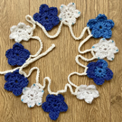 Crochet flower bunting White Blue beaded