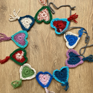 Crochet heart bunting garland multicoloured