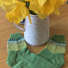 Hand knitted wool daffodil socks