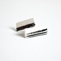 Petite Porcelain Stud Earrings with sterling silver backings
