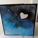 Love bigger than the universe  handpainted card