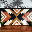 Natural colours Boho Art,Tribal Wood, Aztec Wood, Wood Wall Art, Boho Wood Art,