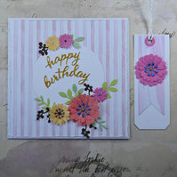 Pink Striped Floral Birthday Card and Gift Tag