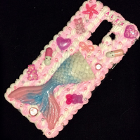 iPhone samsung phone case pink silicone mermaid sea decoden glitter pearl charm