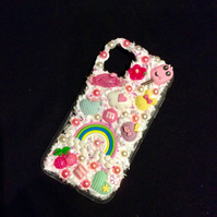 iPhone samsung phone case white pink silicone decoden glitter pearl charm