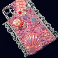 iPhone samsung mobile phone case lace pink silicone decoden glitter pearl charm