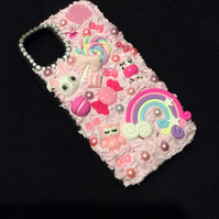 iPhone samsung phone case baby doll pink silicone decoden glitter pearl charm