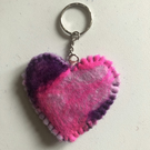 Hand felted heart keyring, shades of pink and purple