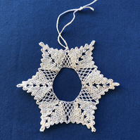 Bobbin lace glittery star or snowflake, with hanging loop