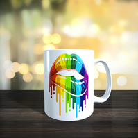 Personalised Double Sided Pride Rainbow Print Dripping Lips 11oz Ceramic Mug
