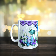 Wrap Around Gothic Style Alice in Wonderland Mug. Alice, Dutchess, Mad Hatter