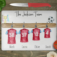 Football shirt Chopping board personalized family, football picture,