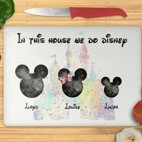 Disney inspired chopping board, personalised cutting board, Mouse, castle