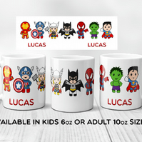 Superhero mug, marvel inspired, personalised mug, kids mug, batman, hulk, spider