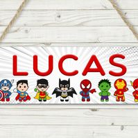 Personalised marvel inspired sign, superhero sign, batman, hulk, spiderman, iron