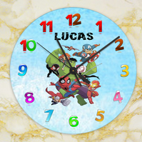 superhero clock, childs clock,bedroom clock