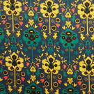 "Liberty Fabric 10"" Square : BYRNE Blue Teal Yellow Floral"