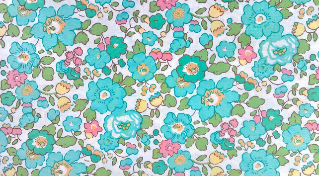 "Liberty Fabric 10"" Square : BETSY Green White Pansy Floral"