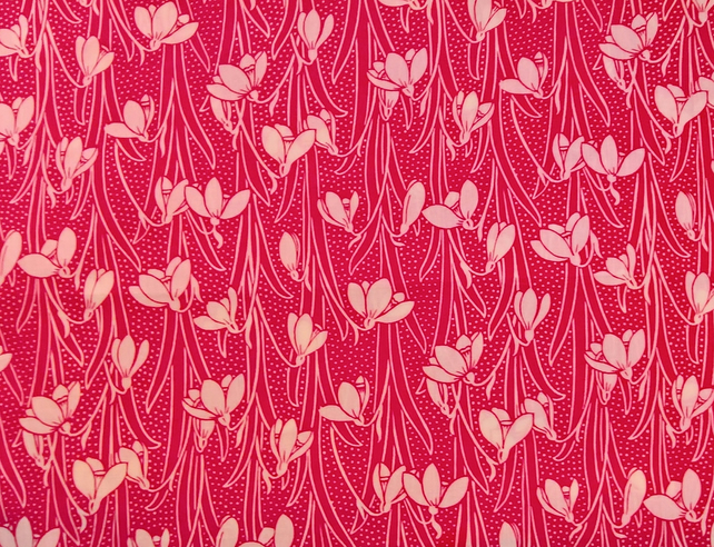 "Liberty Fabric 10"" Square : HESKETH Pink Floral Leaves"
