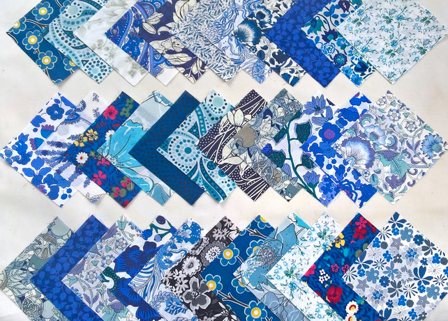 36 Liberty Fabric 2.5inch Squares : ALL BLUE DESIGNS : Patchwork Quilting