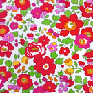 "Liberty Tana Lawn Fabric 10"" Square : BETSY Red White Pansy Floral"