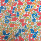 "Liberty Fabric 10"" Square : POPPY AND DAISY : Blue Green Orange White Floral"