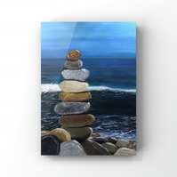 Canvas Acrylic painting  of a balanced pebble tower with a background of a sea