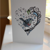 Handdrawn Blue Robin and Heart Greeting Card