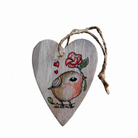 Robin and Rose Wooden Heart Hanging Decoration