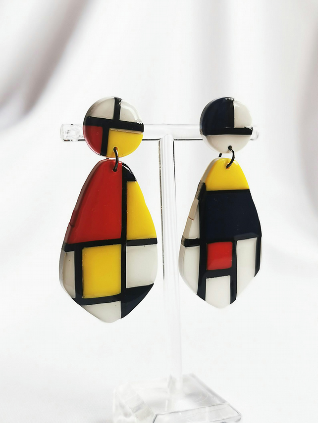 Piet Mondrian art earrings made from clay and resin