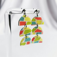 Handmade clay earrings, resin jewellery, colourful clay earrings