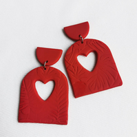 Handmade heart love earrings, clay jewellery