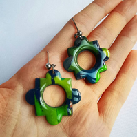 Handmade flower shape earrings, clay jewellery, resin art